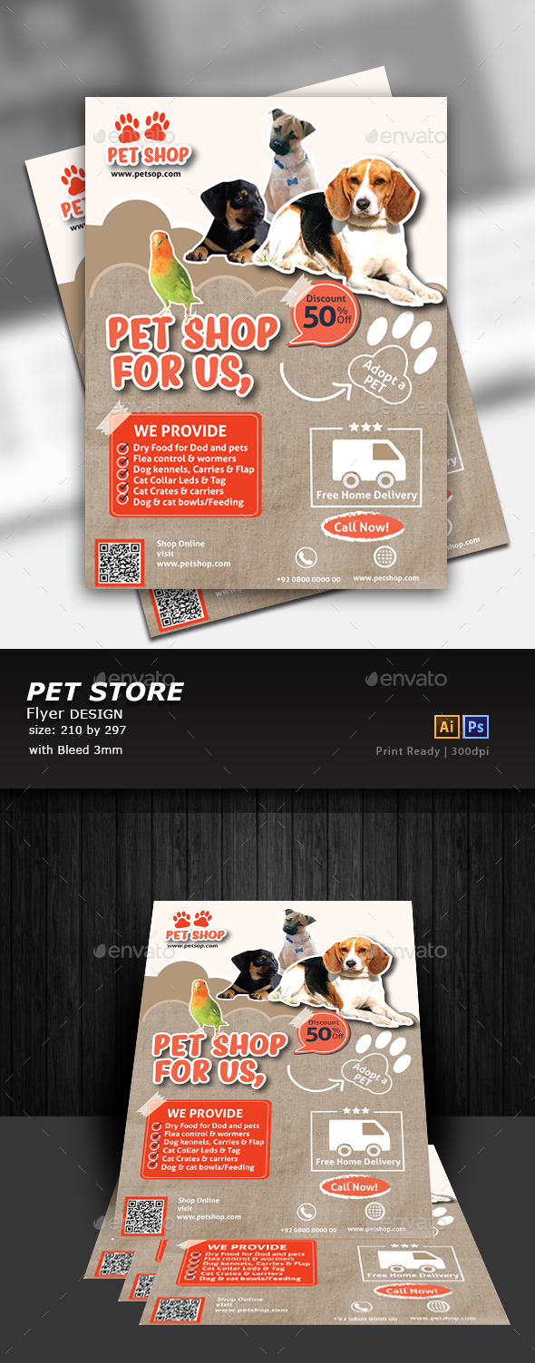Pet Shop Flyer - Cards & Invites Print Templates