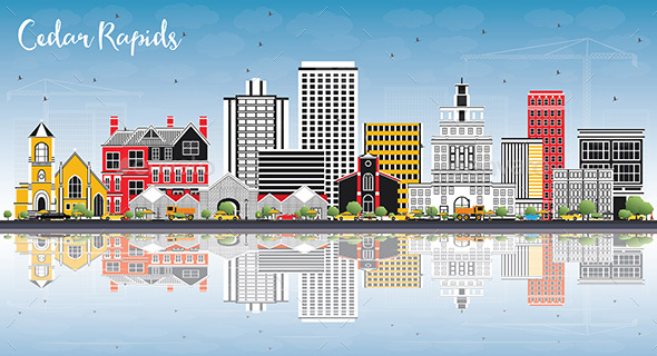 GraphicRiver Cedar Rapids Iowa Skyline with Color Buildings 20847610