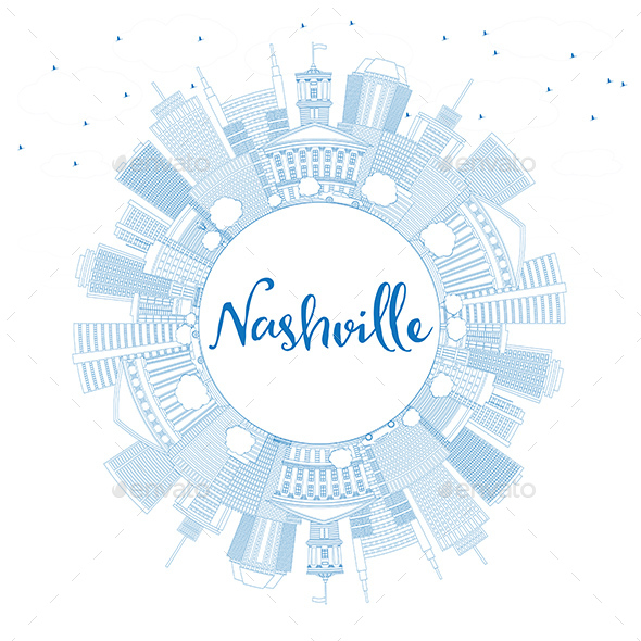 Outline Nashville Skyline with Blue Buildings and Copy Space - Buildings Objects