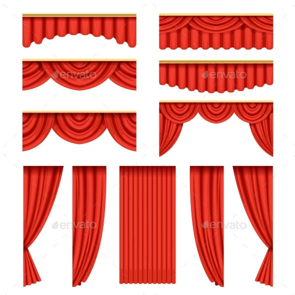 GraphicRiver Set of Red Curtains with Pelmets for Theater Stage 20847741