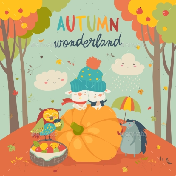 Hello Autumn Background with Animals - Animals Characters