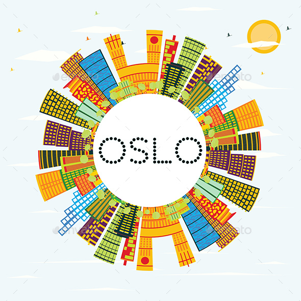 Oslo Skyline with Color Buildings - Buildings Objects