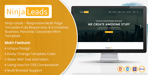 ThemeForest Ninja Leads Multi Purpose HTML Responsive Template 20741619
