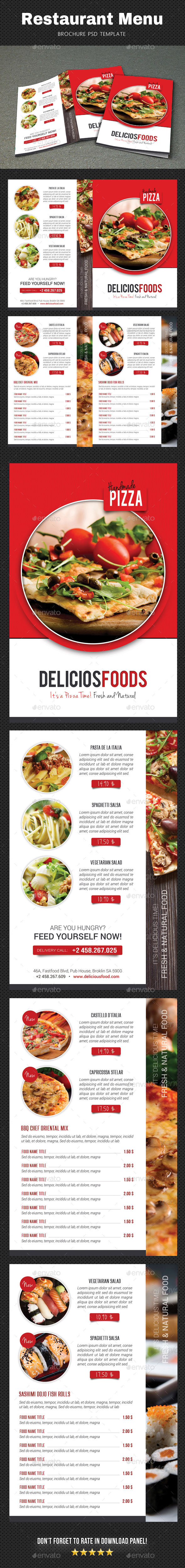 Restaurant Menu Brochure 2 - Food Menus Print Templates