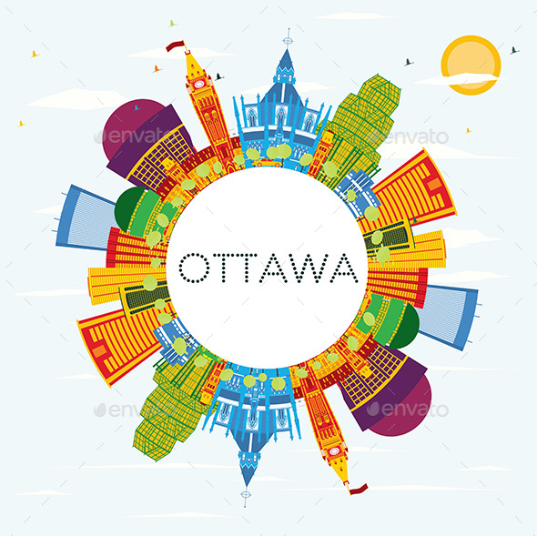 GraphicRiver Ottawa Skyline with Color Buildings 20848158