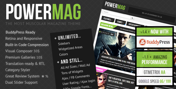 PowerMag: The Most Muscular Magazine/Reviews Theme - BuddyPress WordPress