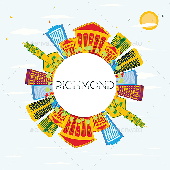 GraphicRiver Richmond Skyline with Color Buildings 20848168