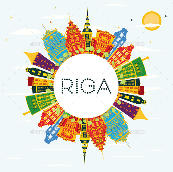GraphicRiver Riga Skyline with Color Buildings 20848169