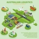 Australian Logistics - Flat 3D Isometric Vector - GraphicRiver Item for Sale