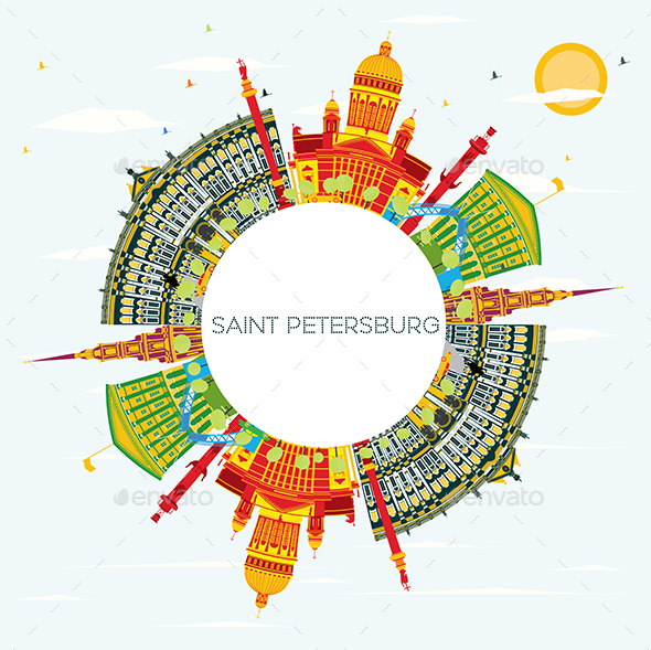 GraphicRiver Saint Petersburg Skyline with Color Buildings 20848178