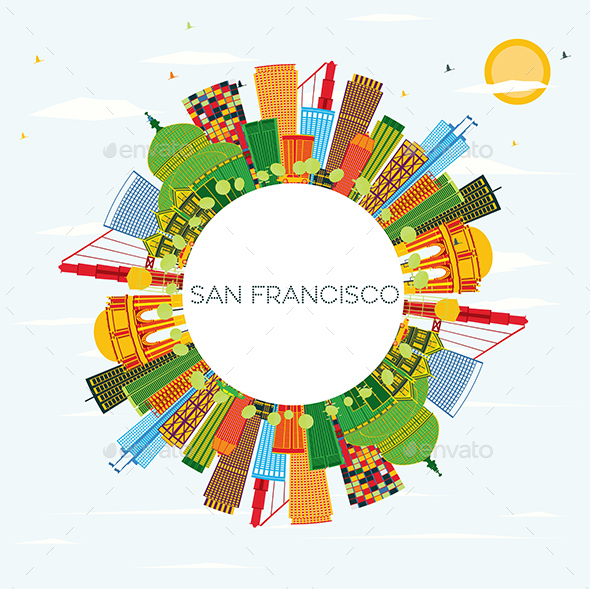 San Francisco Skyline with Color Buildings - Buildings Objects