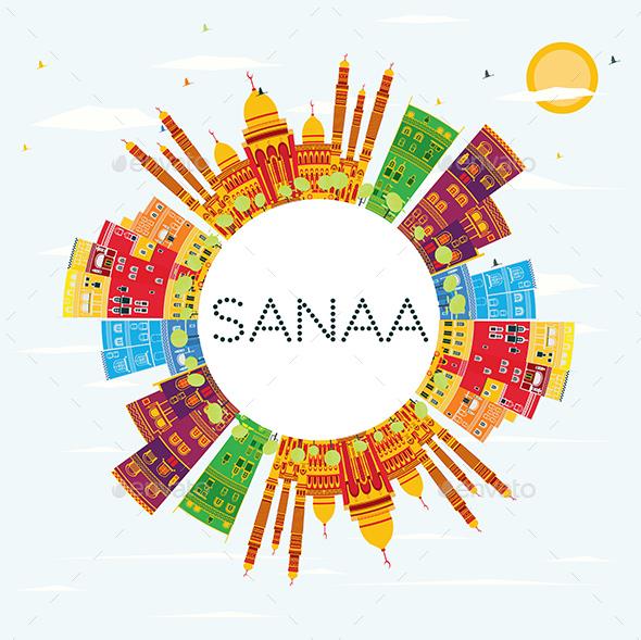 GraphicRiver Sanaa Yemen Skyline with Color Buildings 20848182