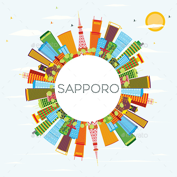 Sapporo Skyline with Color Buildings - Buildings Objects