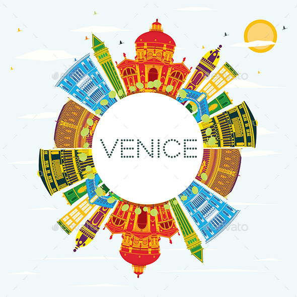 Venice Skyline with Color Buildings - Buildings Objects