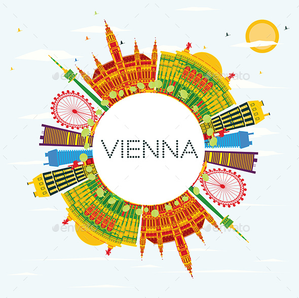 GraphicRiver Vienna Skyline with Color Buildings 20848243