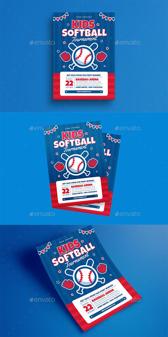 Kids Softball Tournament Flyer - Sports Events
