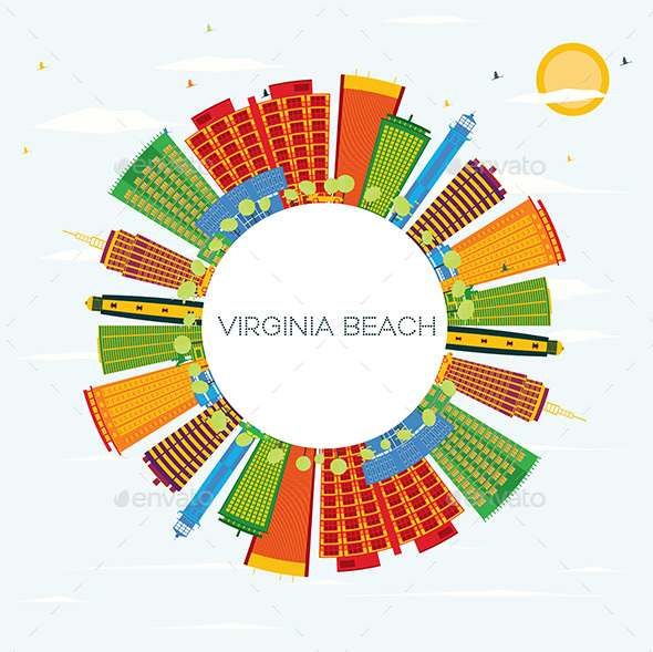 GraphicRiver Virginia Beach Skyline with Color Buildings 20848252