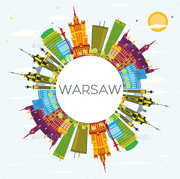 Warsaw Skyline with Color Buildings - Buildings Objects