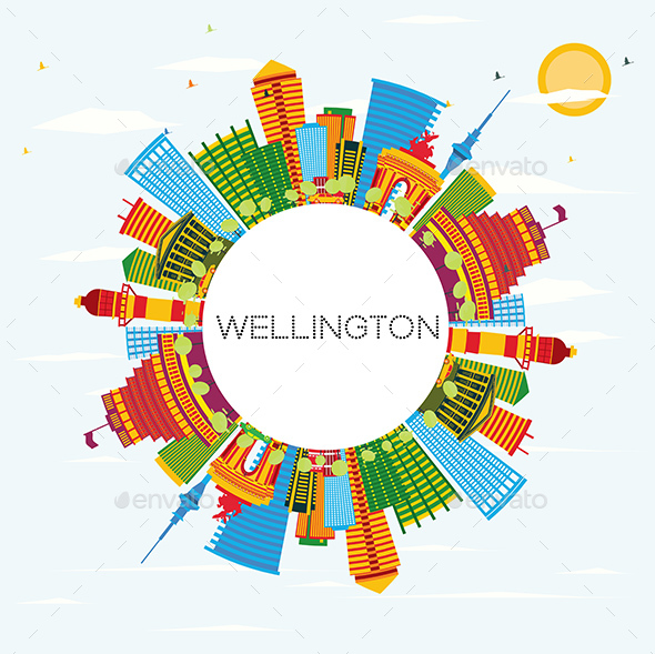 Wellington Skyline with Color Buildings - Buildings Objects