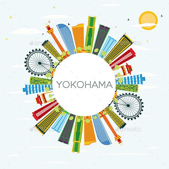 GraphicRiver Yokohama Skyline with Color Buildings 20848266