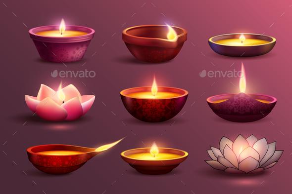 GraphicRiver Diwali Festive Candles Set 20848304