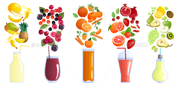Smoothie Colored Composition - Food Objects
