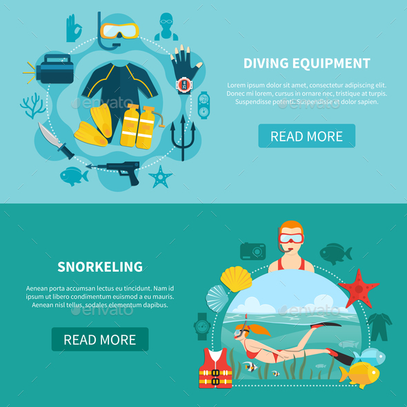 GraphicRiver Diving Equipment Horizontal Banners 20848324