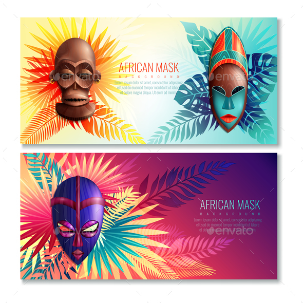 African Ethnic Mask Banners - Religion Conceptual