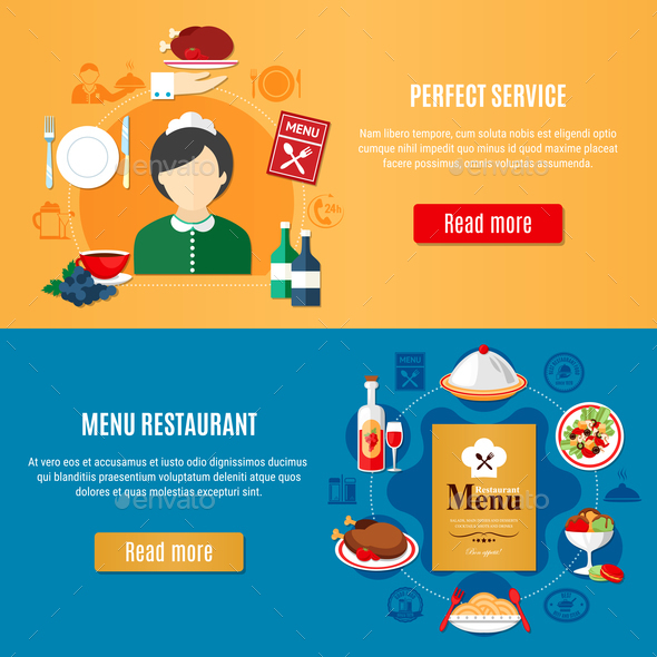 Restaurant Banners Set - Food Objects