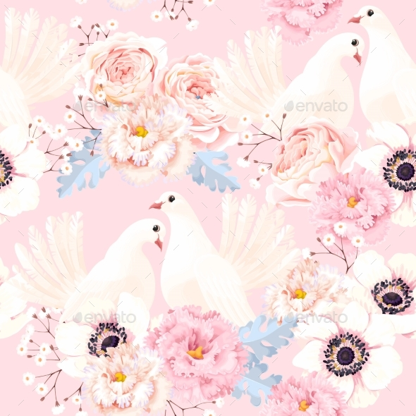 Seamless Pattern with Flowers and Doves - Flowers & Plants Nature