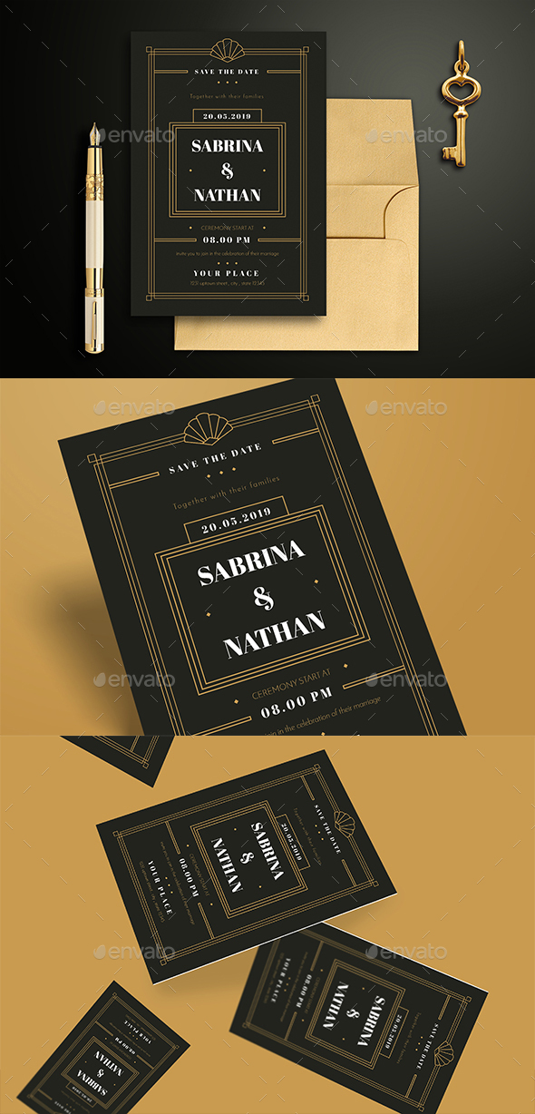 GraphicRiver Art Deco Wedding Invitation 20848457