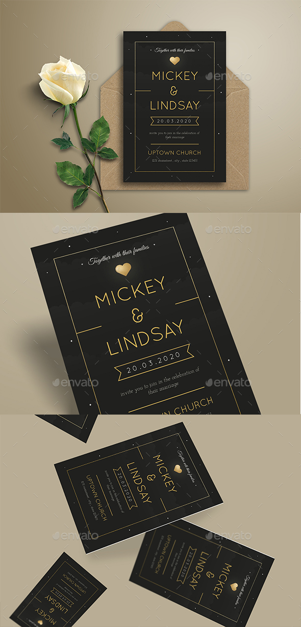 Simple Night Wedding Invitation - Invitations Cards & Invites