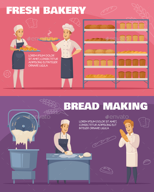 GraphicRiver Bakery Horizontal Cartoon Banners 20848523