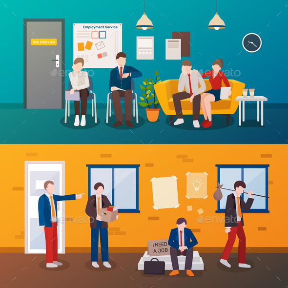 Unemployed People Flat Compositions - Miscellaneous Vectors