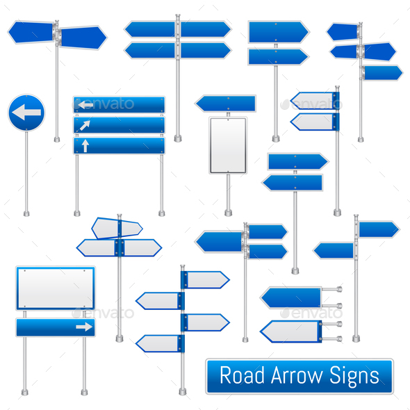 GraphicRiver Road Arrow Signs Realistic Set 20848536