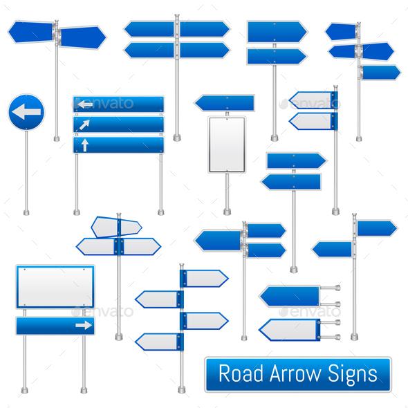 Road Arrow Signs Realistic Set - Miscellaneous Vectors