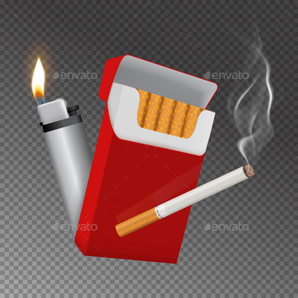 GraphicRiver Realistic Cigarette Pack and Lighter Composition 20848545