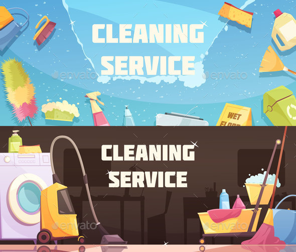 Cleaning Service Horizontal Banners - Services Commercial / Shopping