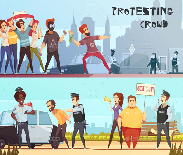 Protesting Crowd Horizontal Banners - Miscellaneous Vectors