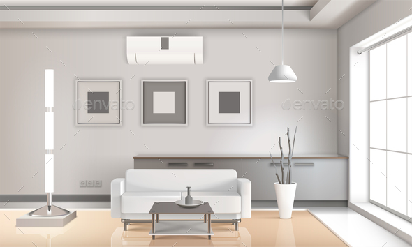 Realistic Living Room Interior Light Tones - Buildings Objects