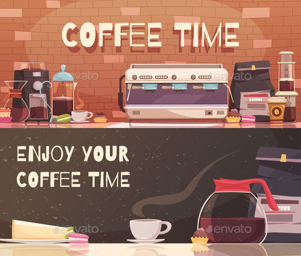 GraphicRiver Coffee Time Two Horizontal Banners 20848557