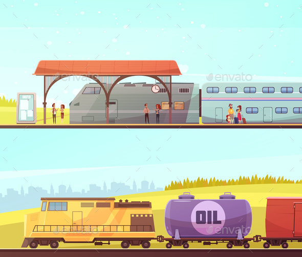 Railway Horizontal Banners - Travel Conceptual