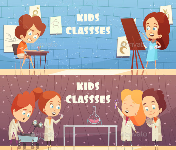 Children Classes Horizontal Banners - People Characters
