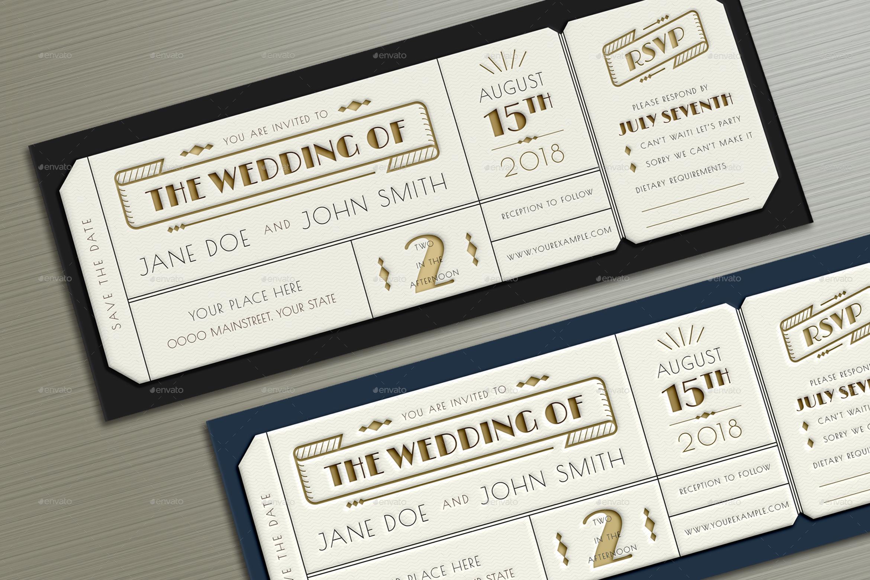 Wedding Ticket Invitations: Art Deco Wedding Invitation Ticket By Vector_Vactory