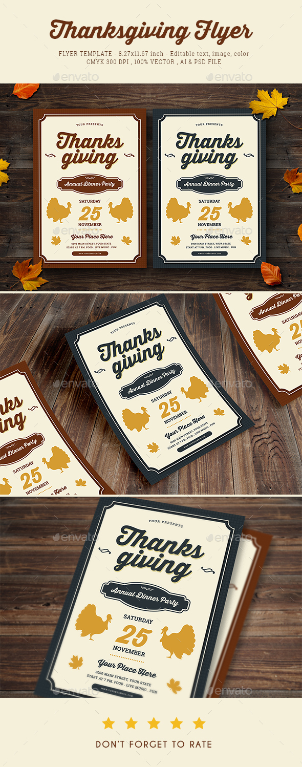 Thanksgiving Dinner Flyer - Holidays Events