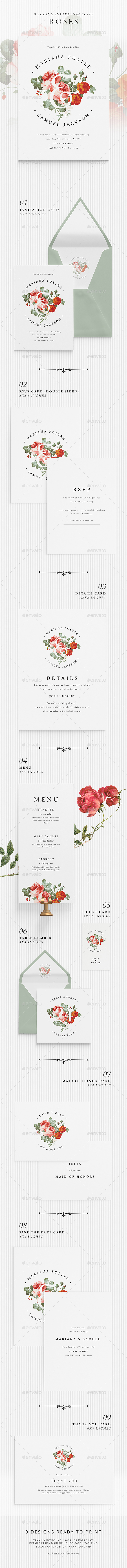 GraphicRiver Wedding Invitation Suite Roses 20848619