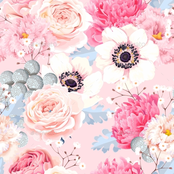 Seamless Pattern with Anemones and Roses - Flowers & Plants Nature