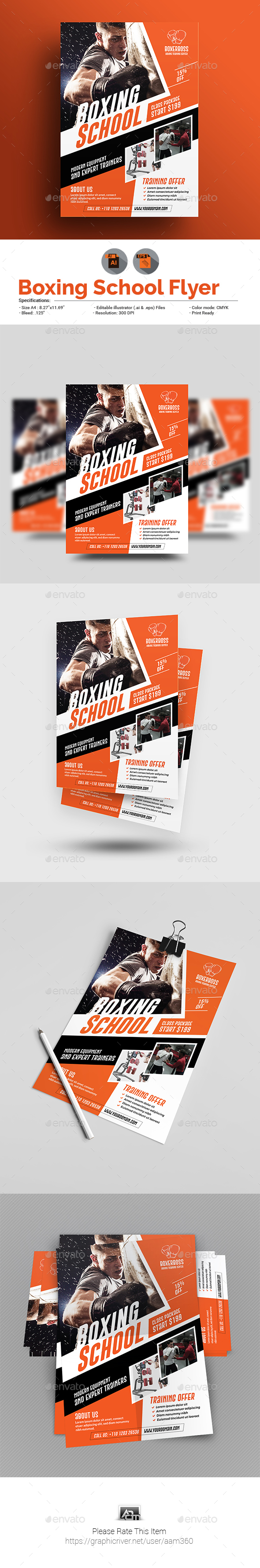 Boxing School Flyer - Sports Events
