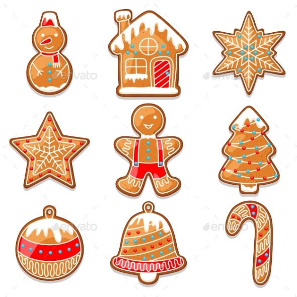 Set of Various Gingerbreads for Merry Christmas - Christmas Seasons/Holidays