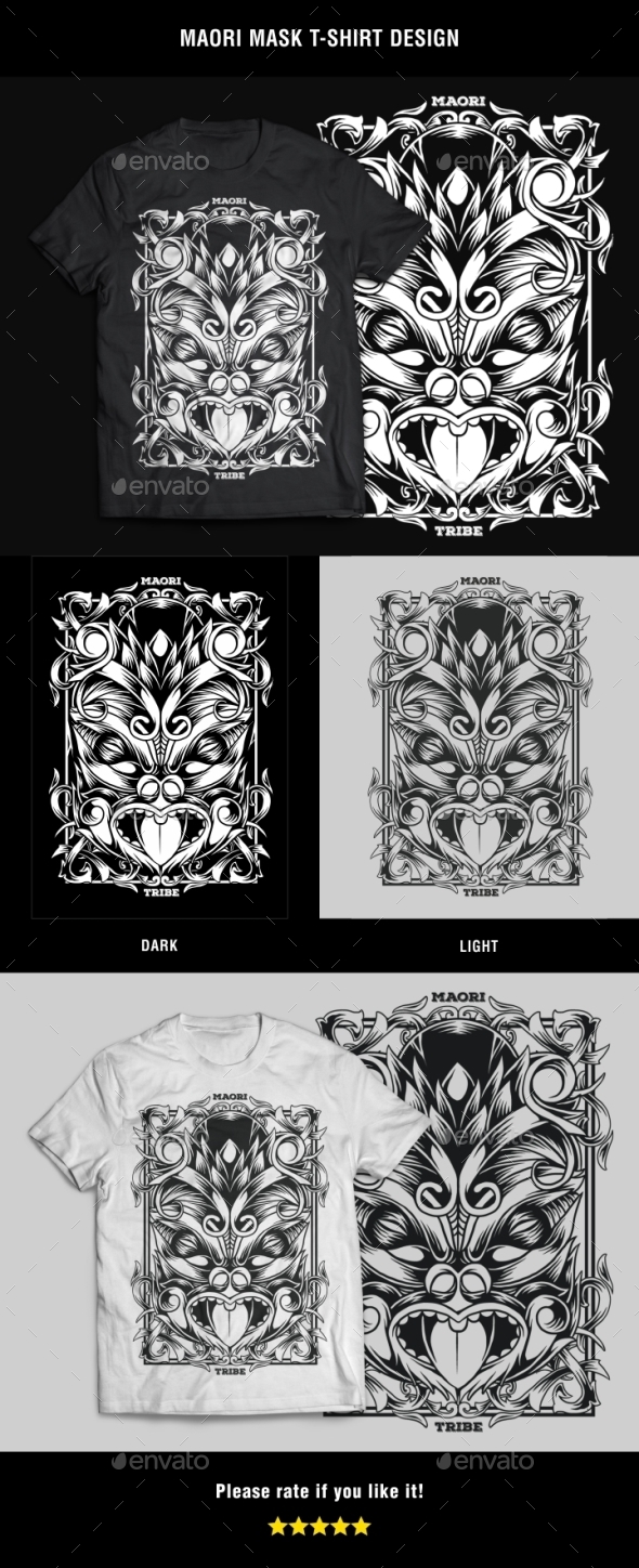 GraphicRiver Maori Mask T-Shirt Design 20848938